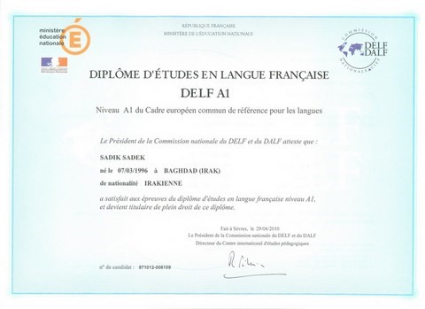 DELF A1: French studies diploma level A1