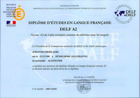 DELF A2: French studies diploma level A2